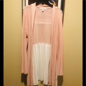 Pink with pleaded back cardigan
